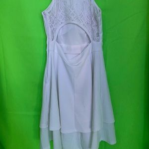 white lace back dress